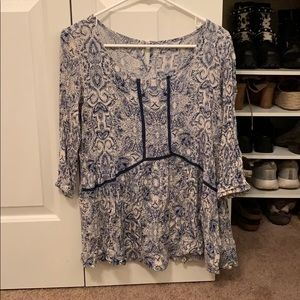 Blue and white paisley blouse
